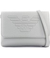 emporio armani maxi logo pearl grey shoulder bag