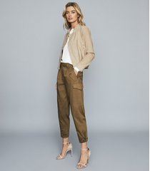 reiss bleeker - tapered cargo trousers in khaki, womens, size 10