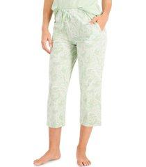 charter club printed cotton capri pajama pants, created for macy's