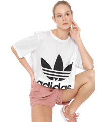 camiseta cropped adidas originals cut out branca - branco - feminino - dafiti
