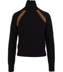 etro woman black ribbed sweater with contrast inlay