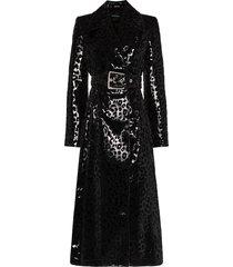 mugler leopard-print vinyl trench coat - black