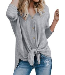 knotted single breasted tunic knit cardigan