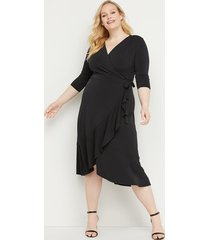 lane bryant women's 3/4 sleeve matte jersey wrap dress 26/28 black