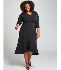 lane bryant women's 3/4 sleeve matte jersey wrap dress 26/28 black