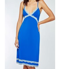 icollection elegant modal knit ultra soft chemise nightgown with contrast lace