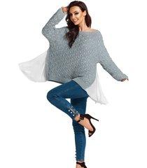sweter z szyfonem na bokach