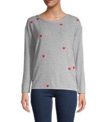 chaser women's heart-print heathered t-shirt - heather grey - size xl