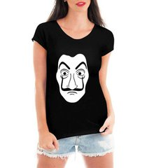blusa t-shirt camiseta criativa urbana mascara dali - feminino