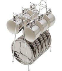 conjunto rojemac 6 xícaras de porcelana p/café c/pires c/suporte branco/prata versa prata