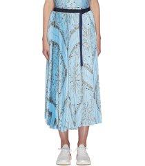 x dr woo bandana print pleat skirt