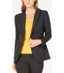 anne klein micro-dot piping-trim blazer