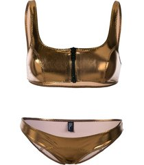 lisa marie fernandez zipped detail bikini set - gold