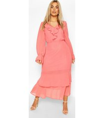 plus dobby mesh ruffle midi dress, coral