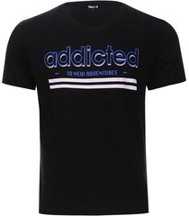 camiseta addicted color negro, talla s