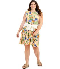 style & co plus size tropical floral shift dress, created for macy's