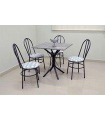 conjunto cozinha sevilha 0,75 com granito c/4 cadeiras milla açomix