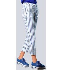broek alba moda wit::blauw