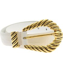 alberta ferretti - white belt in reptile print leather