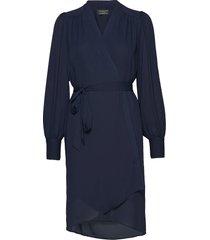 slfalva ls wrap dress noos jurk knielengte blauw selected femme