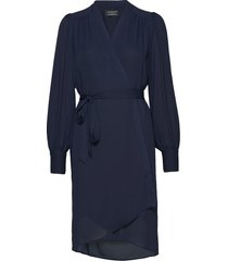 slfalva ls wrap dress noos jurk knielengte blauw selected femme