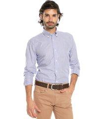 camisa azul osc/blanco preppy ml cfit rayas bd