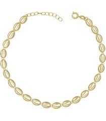 gargantilha prata mil choker com 23 búzios com alongador 8cm dourado