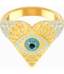 anello con motivo lucky goddess heart, multicolore, placcato oro