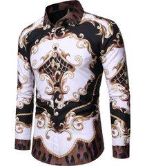 baroque leopard print button up casual shirt