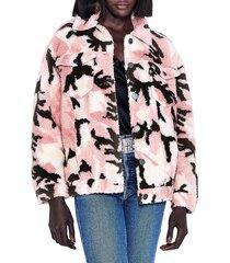 apparis women's teresa camo faux shearling jacket - pink - size l