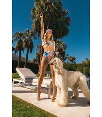hoog uitgesneden marmerprint bikini broekje met hoge taille, blue