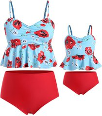 floral cinched plus size peplum family swimsuit