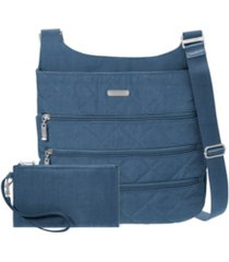 baggallini quilted zipper crossbody with rfid wristlet