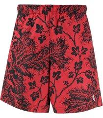 alexander mcqueen short de natação ivy creeper - vermelho