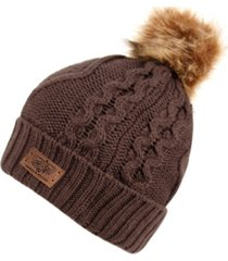 angela & william faux fur pom beanie with fleece lining