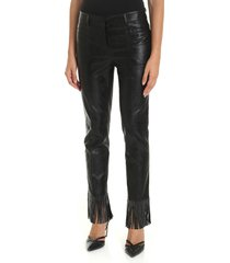 philosophy - eco-leather trousers with fringes