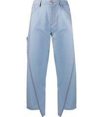 lanvin twisted stitches denim trousers - blue
