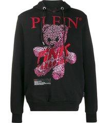 philipp plein pink paradise crystal teddy bear hoodie - black