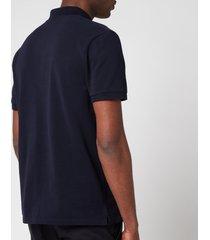 maison kitsuné men's tricolor fox patch polo shirt - navy - m