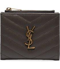 saint laurent monogram-plaque zip wallet - grey