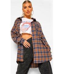 oversized geruite blouse, brown