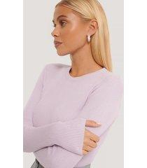 na-kd basic ribbstickad tröja med rund halsringning - purple