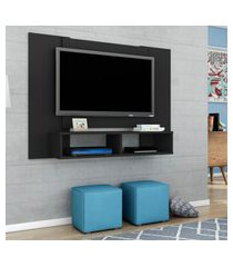 painel móveis bechara navi para tv até 42 pol 2 nichos preto fosco