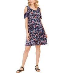 style & co printed cold-shoulder swing dress, created for macy's