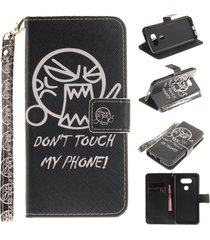 lg g5 case,lg g5 flip case,xyx [do not touch me][painted lanyard] pu leather wal
