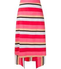 eva tropicaliente striped midi skirt - pink