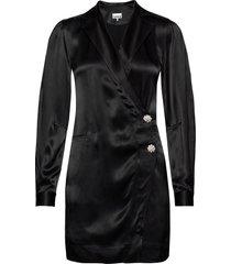 heavy satin korte jurk zwart ganni