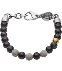 diesel men's beaded two-tone semi-precious and concrete bracelet