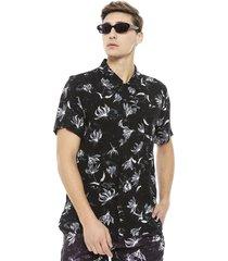 camisa ellus guayabera flores negro - calce regular