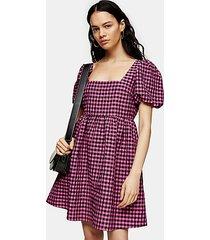 pink gingham check mini dress - pink
